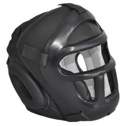 Phoenix Kopfschutz mit Gitter Leder Schwarz