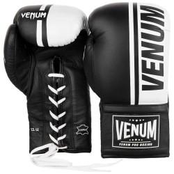 Venum Shield Pro Boxing Gloves Laced Black White