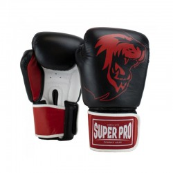 Super Pro Warrior SE Boxhandschuhe Leder Schwarz Rot Weiss