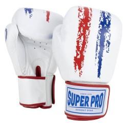 Super Pro Warrior Boxhandschuhe Rot Weiss Blau Leder