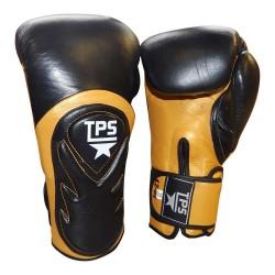 BAT Style Boxhandschuhe Leder Schwarz Gold