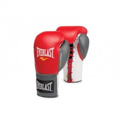Everlast Powerlock Fight Gloves Laced Red Grey 2270