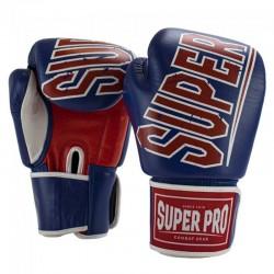 Super Pro Challenger Thai Boxhandschuhe Leder Blue Red White