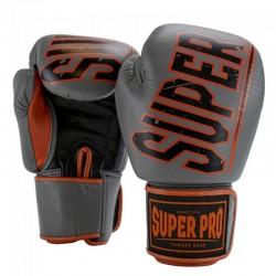 Super Pro Challenger Thai Boxhandschuhe Leder Grey Orange Black