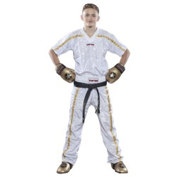 Top Ten Mesh Kickboxhose Weiss Gold Kids