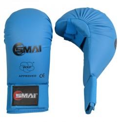 SMAI WKF Karate Handschutz ohne Daumen Blau