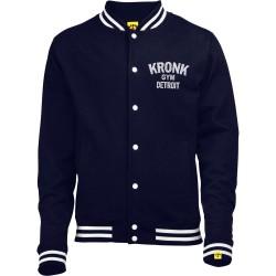 Kronk Vintage Style Print College Jacket Navy