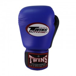 Twins BGVL 3 Boxing Gloves Retro Blue Black Leather