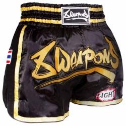 8Weapons Super Mesh Muay Thai Short Schwarz Gold