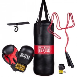 Benlee Punchy Boxing Bag and Gloves Set Black