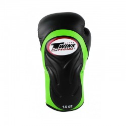 Twins BGVL 6 Boxing Gloves Black Green Leather