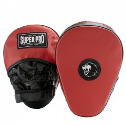Super Pro Curved Hook and Jab Pad Leder Black Red