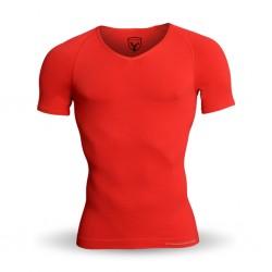 Strammer Max Men Kompression Shirt Breeze Deep V-Neck Hellrot