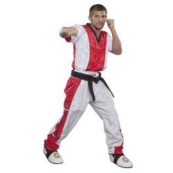 Top Ten Kickboxjacke V- Ausschnitt T-Shirt Weiss Rot