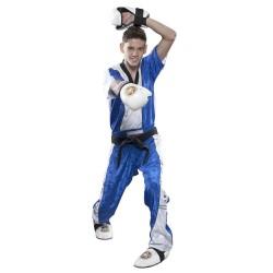 Top Ten Kickboxjacke V- Ausschnitt T-Shirt Blau Weiss