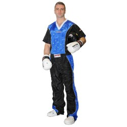 Top Ten Kickboxjacke V- Ausschnitt T-Shirt Schwarz Blau