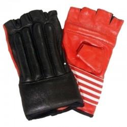 Punching Mitts Schwarz Rot Leder