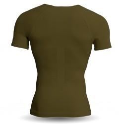 Abverkauf Strammer  Max Men Kompression Shirt Breeze Deep V-Neck Oliv L