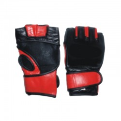 Grappling MMA Mitts Schwarz Rot Leder