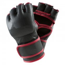 Combat MMA Mitts Schwarz Rot Leder