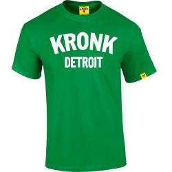 KRONK Detroit T Shirt Irish Green White