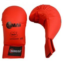 SMAI WKF Karate Handschutz ohne Daumen Rot