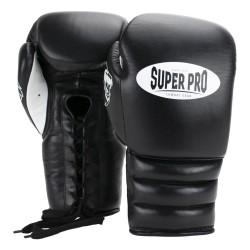Super Pro Knock Out Boxhandschuhe Schwarz Weiss Schnürer