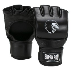 Super Pro Slugger MMA Handschuhe Schwarz Weiss Leder