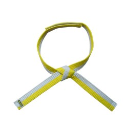 Kwon Clubline Klett Gürtel für Kinder weiss gelb