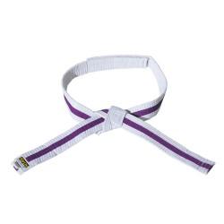 Kwon Clubline Klett Gürtel für Kinder weiss lila weiss