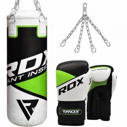 RDX 2ft Green Punch Bag and Gloves Set Junior