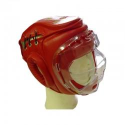 Kopfschutz Rot Plexiglasvisier