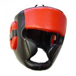 Kopfschutz Jochbeinschutz Schwarz Rot Leder