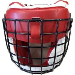 Kopfschutz Jochbeinschutz Metallgitter Rot Weiss