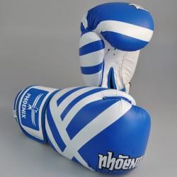 Phoenix Thai Boxhandschuhe Leder Blau Weiss