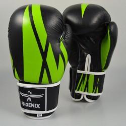 Phoenix Thai Boxhandschuhe Schwarz Grün Leder