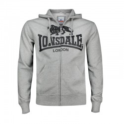 Lonsdale Krafty Herren Zip Hoodie Marl Grey
