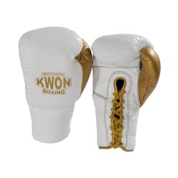 Kwon Professional Boxhandschuh schnürung weiss gold