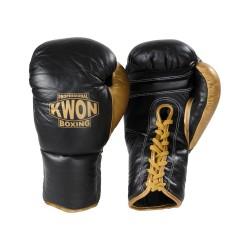 Kwon Professional Boxhandschuh schnürung schwarz gold