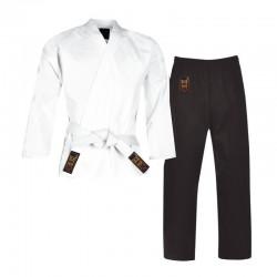Karate Anzug Deluxe Weiss Schwarz Junior