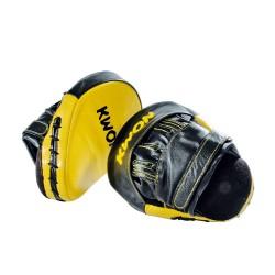 Kwon Coaching Mitt Leder schwarz gelb Paar