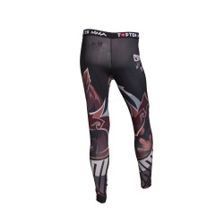 Top Ten Samurai Leggings Kompressions Hose Schwarz Rot