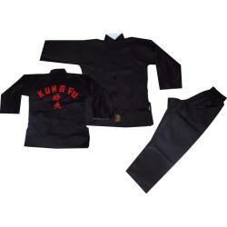 Kung Fu Anzug Schwarz mit Stick Dragon Junior