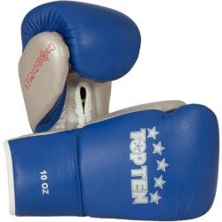 Top Ten Profi Boxhandschuhe Blau Silber