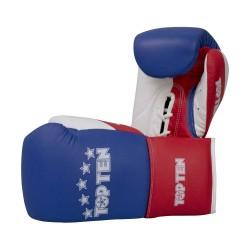 Top Ten Profi Tricolor Boxhandschuhe Blau Rot