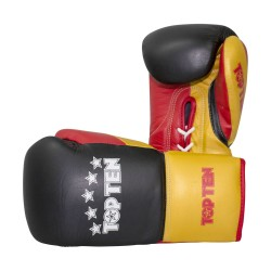 Top Ten Profi Tricolor Boxhandschuhe Schwarz Gold