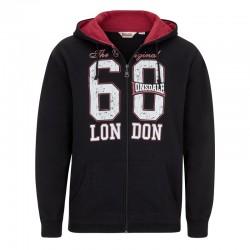 Lonsdale Troon Herren Zip Sweater Hoodie Black