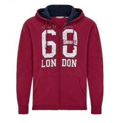 Lonsdale Troon Herren Zip Sweater Hoodie Dark Red