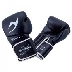 ju- Sports C16 Competitor Pro Boxhandschuhe Leder 10 Oz Schwarz