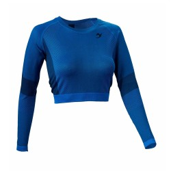ju-Sports Gym Line Crop Top LS Seamless blau